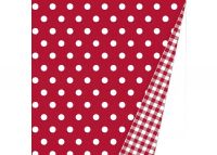 Inpakpapier Trendy (dubbelzijdig) DOTS RED VICHY RED